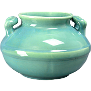 Red Wing Art Pottery Jardiniere,  Blue over Green Pot (Shape #262), 1931