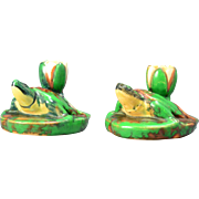 Vintage Weller Pottery Candle Holders, Coppertone Turtles ca. 1920's
