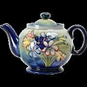 Moorcroft Pottery Blue Flower Teapot