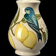 Moorcroft Pottery White Mini Vase with Birds