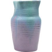 Muncie Pottery Vase Green Drip Over Purple Ribbed Vase (Shape 446-7) 2A, 1930's