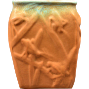 Muncie Pottery Vase Green Drip Over Pumpkin Katydid (Shape 194-6) 2A, 1930's