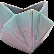 Muncie Pottery Vase Green Drip Over Lilac Ruba Rombic Ashtray (Shape 312-5) 2A, 1928