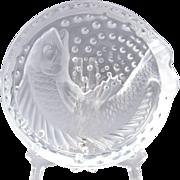 Lalique Crystal Ashtray, Koi Concarneu Ashtray