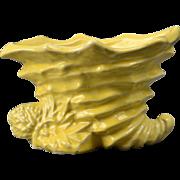 McCoy Pottery Planter, 1950's Yellow Shell Cornucopia Planter