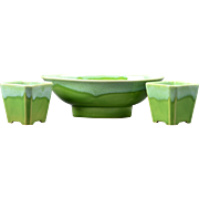 Roseville Pottery Pasadena Green Console Bowl (L-20) and Votives (L-30), 1952