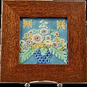Rookwood Pottery Tile Polychrome Basket of Flowers #2275, 1925 in Custom Frame