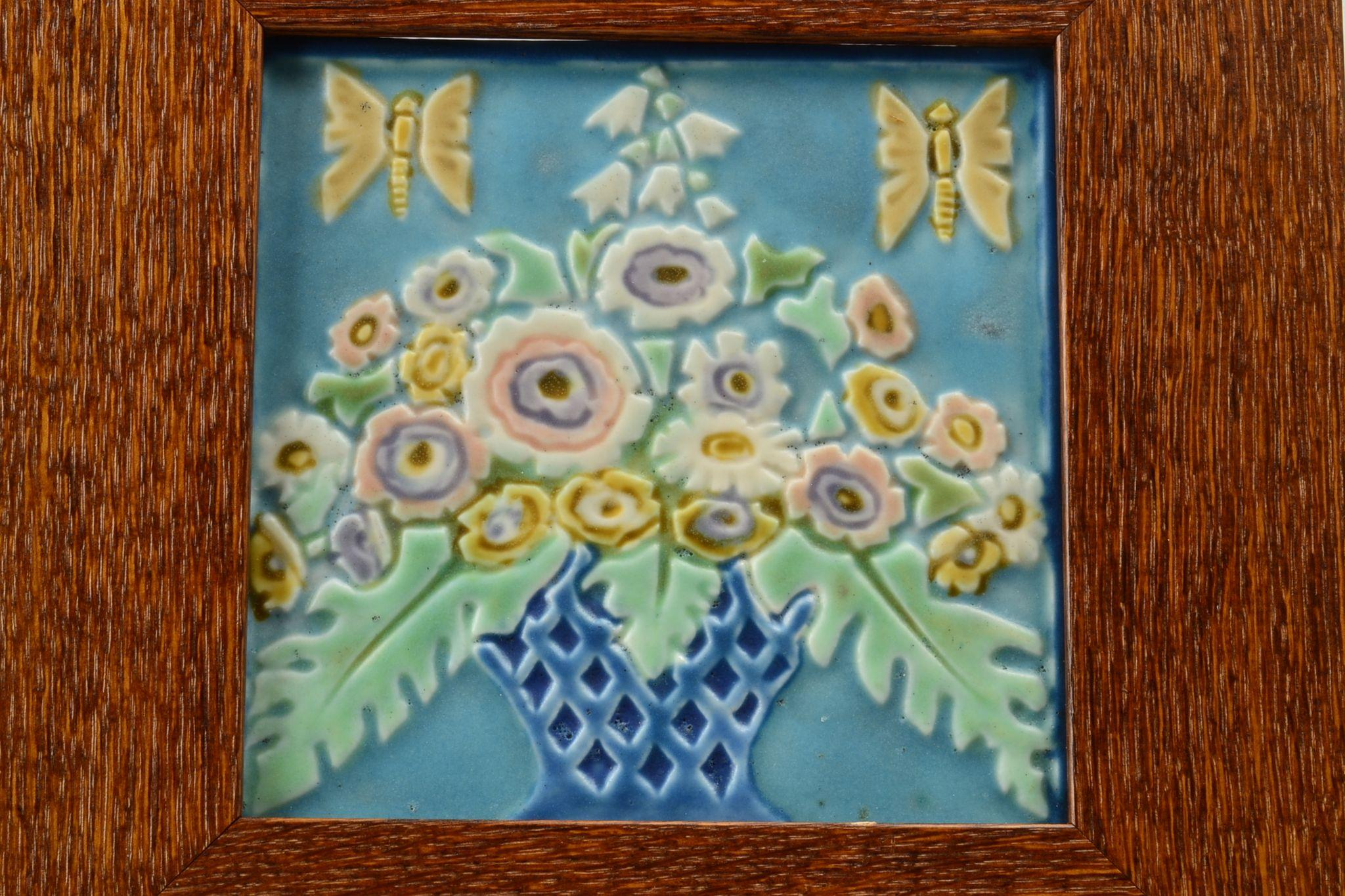 rookwood pottery tile polychrome basket of flowers 2275 1925 in