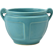 Roseville Pottery Bowl, Matt Color Blue Handled Planter 548-4, 1920