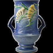 Roseville Pottery Vase Blue Freesia Vase #123-9, 1945