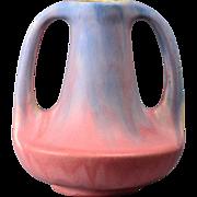 Muncie Pottery Vase, Blue Drip over Rose 2 Handle Vase #143-7 B4, 1930's