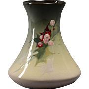 Weller Pottery Vase, 1898-1918 Eocean Tapered Vase with Holly and Berries