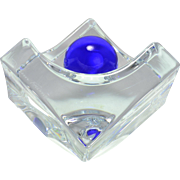 Daum Crystal Sculpture, Geometric Ashtray with Cobalt Blue Smothering Ball