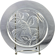 "Lalique Crystal Annual Plate, 1966 Rose Du Songerie ""Dream Rose"" Annual Plate"