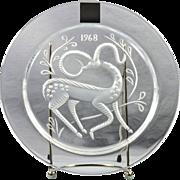 "Lalique Crystal Annual Plate, 1968 Gazelle Fantaisie ""Gazelle Fantasy"" Annual Plate"