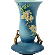 Roseville Pottery Vase, 1948 Blue Apple Blossom Vase #388-10