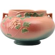 Roseville Pottery Bowl, 1941 Pink Columbine Large Jardiniere Planter #655-6