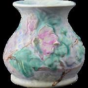 Weller Pottery Vase, 1920's Silvertone Roses Squat Vase