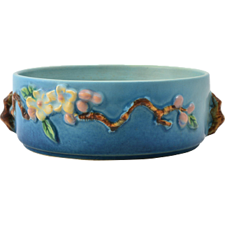 Roseville Pottery Bowl, 1948 Aqua Blue Apple Blossom Bowl #326-6