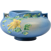 Roseville Pottery Bowl, 1941 Blue Columbine Jardiniere Planter #655-3