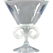 Lalique Crystal Vase, Pre-1978 Rams Head Compote