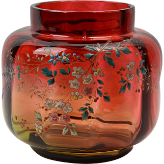Victorian-era Hand Decorated Amberina Glass Vase/Ginger Jar
