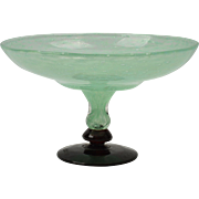 Charles Schneider Tazza, 1920-30 Jade Green Art Glass Tazza