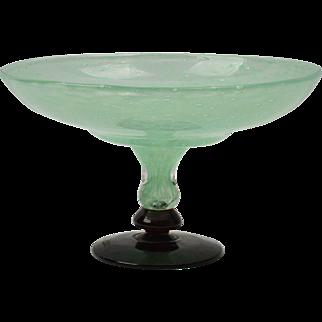 Charles Schneider Tazza, 1920-30 Jade Green Art Glass Tazza