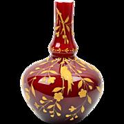 Webb Glass Vase, 1880-90 Birds Flowers and Butterflies Oxblood Cased Gourd Vase