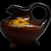 Weller Pottery Ewer, 1896-1924 Louwelsa Yellow Rose Tri-Foot Ewer