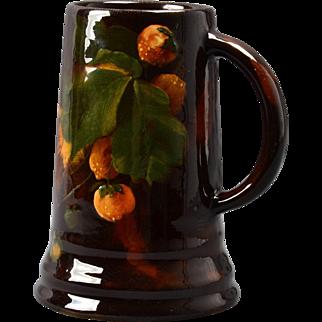 Weller Pottery Mug, 1898-1910 Aurelian Peaches and Branches Mug Stein #435 8 K