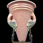 Roseville Pottery Vase, 1920's Tuscany Pink Wall Pocket #1254-7