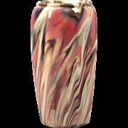 Weller Pottery Vase, 1914 Pink Gray Charcoal Marbelized Octagonal Vase