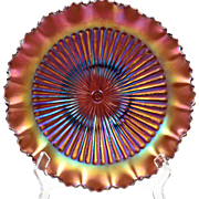 Northwood Glass Bowl, 1900's Amethyst Purple Carnival Stippled Ray Bowl
