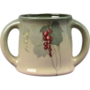 Weller Pottery Mug, 1898-1918 Grapes Eocean 2 Handle Loving Cup Mug Stein
