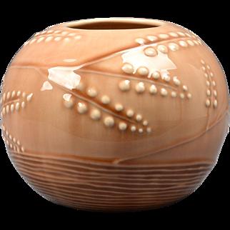Rookwood Pottery Vase, 1946 Wine Madder Wheat Design Round Vase #6217