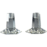 Tiffany & Co Candle Holders, Tiffany & Co 1987 Hexagon Crystal Candle Holders FL Wright FDN