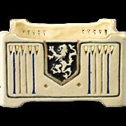 Weller Pottery Planter, 1915 Creamware Lion Crest Square Bowl Planter