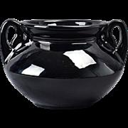 Roseville Pottery Round Vase, 1916-19 Rosecraft Black Round Vase #129-5