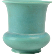 Rookwood Pottery Vase, 1937 Green Flared Rim Vase #6687F