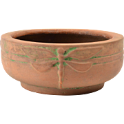 Peters and Reed Bowl, 1900's Moss Aztec Dragonfly Tulip Low Bowl