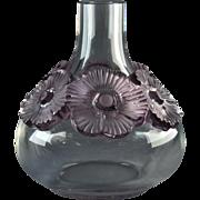 Lalique Crystal Vase, Pre-1978 Lavender Atossa Vase