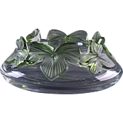 Lalique Crystal Bowl, Pre-1978 Green Lierre Ivy Coupes Bowl
