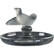 Lalique Crystal Bowl, pre-1978 Pinson Sparrow Pin Tray Small Bowl