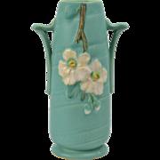 Weller Pottery Vase, 1930's Green Wild Rose Vase