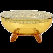 Viking Glass Flowerlite, 1954 Amber Scroll Oval Flowerlite #1048
