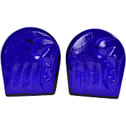 Blenko Glass Bookends, 1960's Cobalt Elephant Bookends