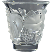 Lalique Crystal Vase, 1980 Saumur Grapes and Leaves Vase