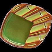 Nicodemus Pottery Ashtray, 1950's Green Brown Diamond Shape Ashtray