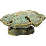Fulper Pottery Flower Frog, 1920's Verte Antique Lily Pad Flower Frog (Green)